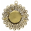 Filigree Pendant Setting 33mm Antique Brass